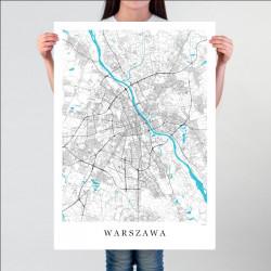 WARSZAWA - plakat mapa...