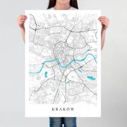 KRAKÓW - plakat mapa Krakowa
