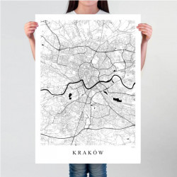 KRAKÓW -  plakat mapa